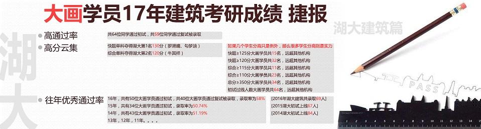 2017年大画建筑考研成绩(湖大篇)